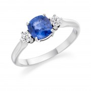 Platinum Nella cushion shape sapphire & diamond three stone ring
