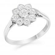 Platinum Donatella nine stone halo diamond ring 0.54cts.