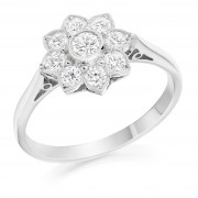 Platinum Donatella nine stone halo diamond ring 0.44cts.