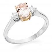 Platinum & rose gold Nella oval peach sapphire & diamond ring