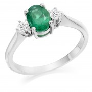 Platinum Nella oval shape emerald & diamond three stone ring
