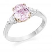 Platinum & 18ct rose gold Gabriella oval Padparadscha sapphire and pear shaped diamond three stone ring