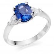 Platinum Gabriella cushion shape sapphire & diamond three stone ring