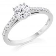 Platinum Pianeti round cut diamond solitaire ring, diamond shouders 1.03cts