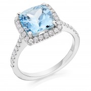 Platinum Valentina cushion aquamarine and diamond halo ring, diamond shoulders