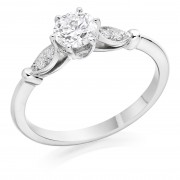 Platinum Lily round cut diamond solitaire ring, diamond shoulders 0.77cts
