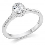 Platinum Pianeti oval halo ring, diamond shoulders 0.66cts
