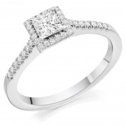 Platinum Pianeti princess cut diamond halo ring, diamond shoulders 0.66cts