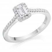 Platinum Pianeti emerald cut diamond halo ring, diamond shoulders 0.63cts