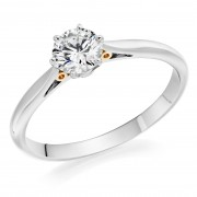 Platinum & blush gold Serafina round cut diamond solitaire ring 0.51cts