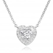 18ct white gold heart cut diamond pendant micro set with a halo of round cut diamonds