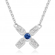 18ct white gold Amalia diamond and sapphire set kiss pendant