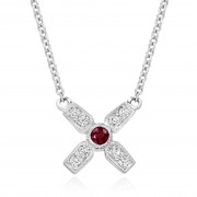 18ct white gold Amalia diamond and ruby set kiss pendant