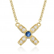 18ct yellow gold Amalia diamond and sapphire set kiss pendant