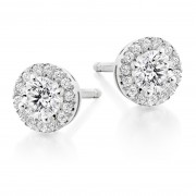 18ct white gold Pianeti round cut diamond earrings