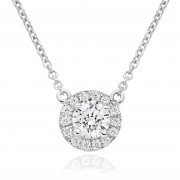 18ct white gold Pianeti round cut diamond pendant.
