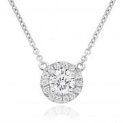 18ct white gold Pianeti round cut diamond pendant.