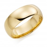 18ct yellow gold 8mm Oxford wedding ring