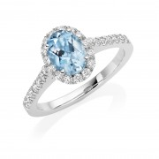 Platinum Pianeti oval aquamarine and diamond halo ring, diamond shoulders