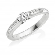 Platinum Eclipse round cut diamond solitaire ring, diamond shoulders