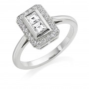 Platinum Finestra deco style diamond halo ring