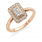 18ct rose gold Finestra deco style diamond halo ring