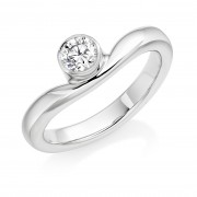 Platinum round cut diamond single band Wave ring