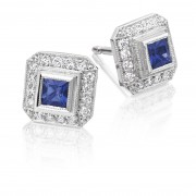 18ct white gold Finestra deco style sapphire & diamond earrings.