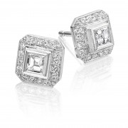 18ct white gold Finestra deco style carré & round cut diamond earrings.