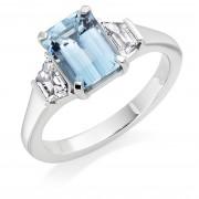 Platinum Marea 8x6mm aquamarine & diamond three stone ring.