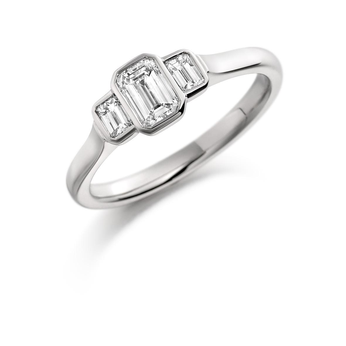 A Beautiful Platinum Three Stone Diamond Ring